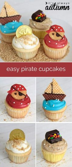 pirate cupcakes are so cute! And they use real frosting instead of fondant - they look easy enough for me to make!These pirate cupcakes are so cute! And they use real frosting instead of fondant - they look easy enough for me to make! Cute Cupcakes, Cupcake Cookies, Fondant Cupcakes, Cupcake Toppers, Fairy Cupcakes, Decorate Cupcakes, Cupcakes For Boys, Fondant Toppers, Pirate Cupcake