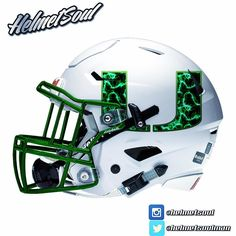 "New Miami Hurricane ""st.patrick's day"" design by Helmetsoul. Football Helmet Design, College Football Helmets, Sports Helmet, Football Uniforms, Football Memes, Nfl Football, Football Stuff, American Football, Miami Dolphins Memes"