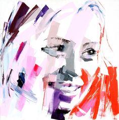 Vente dimanche 28 février 2016 par Cannes Enchères à Cannes : Elisabeth BESNIER (née en 1964), Le sourire. Huile sur toile. Signé en bas à droite. Signé et titré au dos. 100 x 100 cm. Est. 2 500 - 3 000 euros.