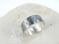 mens ring hammered silver ring bold silver ring band by CrazyAssJD