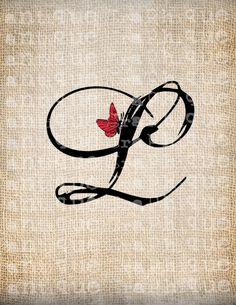 Antique Letter L Script Monogram with by AntiqueGraphiqueAged