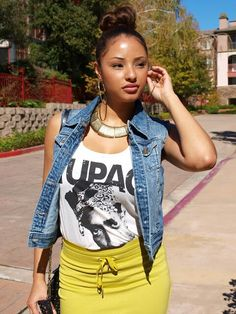 Tupac Top. Denim Vest. Hoop Earrings. Swag. Dope Outfit. Urban Fashion. Hip Hop Outfit. Hip Hop Fashion