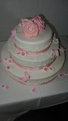 Wedding Cake with sugar roses, flowers and butterflies