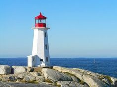 Peggy's Cove, Nova Scotia, Canada - vibrant blues with grey, white and a hit of red. We were here last week - beautiful variations of the color blue from ocean to horizen to just above! Lighthouse Decor, Lighthouse Lighting, Lighthouse Photos, New Brunswick Canada, Five In A Row, Scenic Photography, Landscape Photography, Home Wallpaper, Nova Scotia