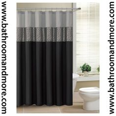 Black And Gray Fabric Shower Curtain With Metallic Silver Accent Stripe