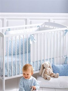. Baby Blue Nursery, Baby Boy Rooms, Little Boy Blue, Baby Steps, First Baby, Decoration, Bedtime, Baby Love, Cribs