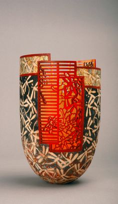 Binh Pho Red Moon Box Elder, Gold Leaf , Dye and Acrylic Paint Glass Ceramic, Ceramic Pottery, Ceramic Art, Gourd Art, Wood Turning, Fused Glass, Flower Art, Vintage Art, Red Moon