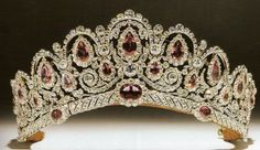 Tiara of the Bagraton. A memorable combination of pinkish spinels and diamonds this tiara once belonged to a Russian princess, Catherine Bagration. It was purchased by the current Duke of Westminster for his bride, and she wore it at their 1978 wedding. Royal Crown Jewels, Royal Crowns, Royal Tiaras, Royal Jewelry, Tiaras And Crowns, Pageant Crowns, Circlet, Westminster, Antique Jewelry