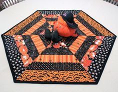 Hexagon Halloween Table Runner Quilt Candle by QuiltSewPieceful