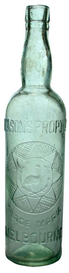 Dyason's Propy Ltd. Melbourne. Emu & wreath in geometric pattern trade mark. Aqua. 26 oz. c1910s