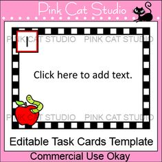 Editable Task Cards Template - Back to School Apple Theme - If you love coming up with fun questions for task cards but don't want to spend time designing the frames and laying out the files then this template is for you!