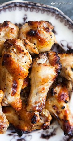 Honey Mustard Chicken Wings ~ Meaty chicken wing drummettes, marinated in garlic, honey, Dijon, soy sauce, and lemon juice, then roasted in the oven. ~ SimplyRecipes.com