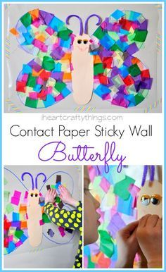 Contact Paper Sticky Wall Butterfly Craft We had some Winter weather today which forced us to play inside this afternoon. I came up with this Contact Paper Sticky Wall Butterfly Craft to help entertain my daughter and it turned out to be Contact Paper Butterfly Craft, Contact Paper Crafts, Paper Butterfly Crafts, Paper Butterflies, Contact Paper Art For Toddlers, Flower Crafts, Diy Butterfly, Spring Crafts For Kids, Art For Kids