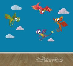 Dragons Fabric Wall Decal Stickers, Reusable Wall Decal by WallStickerStudio on Etsy https://www.etsy.com/listing/187059134/dragons-fabric-wall-decal-stickers
