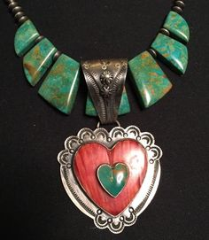Huge Dan Dodson Heart Spiney Oyster & Turquoise Pendant & With Vintage Necklace