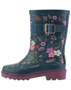 """Oakiwear Kids Rubber Rain Bootsed, Midnight Floral, 10T US Toddler. PERFECT RAIN BOOTS FOR TODDLERS AND KIDS   We designed lightweight boots for kids and toddlers that hold up to the strongest of puddles. A nice flat sole and low heel helps keep kids firm on the ground. We choose a variety of traditional """"rain wear"""" colors to make these the perfect companion to any rainwear outfit!. EASY TO WASH   After a day of fun, just rinse them off and let the boys rain boots and girls rain boots dry..."""