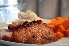a little north of crazy: Glazed Roast Peameal Bacon, Garlic Mashed Potatoes and Sweet Carrots Bacon Recipes For Dinner, Pork Recipes, Slow Cooker Recipes, Cooking Recipes, Peameal Bacon, Sweet Carrot, Garlic Mashed Potatoes, Dinners To Make, Roast Dinner
