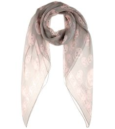 Alexander McQueen - Printed silk scarf - Decorate your urban-chic wardrobe with an iconic skull-print scarf from Alexander McQueen. The demure grey and pale pink combination will lend a sophisticated accent to daytime looks. seen @ www.mytheresa.com
