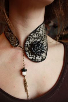 Collar necklace - jewel in tribal fabric and leather, handmade: Necklace by adele - . - Collar necklace – jewel in tribal fabric and leather, handmade: Necklace by adele – - Leather Necklace, Collar Necklace, Leather Jewelry, Textile Jewelry, Fabric Jewelry, Jewellery, Tribal Fabric, Tie Crafts, Fashion Accessories