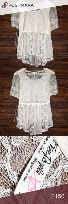 FREE PEOPLE Tunic Lace Embroidered Mesh Swing Top Size XS. New Without Tags. $98 Retail + Tax.    • Effortless & beautiful, this swing blouse pairs perfectly with your favorite denim. • Features an embroidered mesh overlay with alternating lace & cream chiffon bottom. • Unlined, semi-sheer, loose-fitting silhouette.  • Subtle high-low hemline. • Measurements provided below.  {Southern Girl Fashion - Closet Policy}   ✔Bundle discount: 20% off 2+ items.   ✔️ Items are priced to sell…