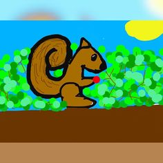 So I drew a squirrel during a revision break on my iPad #iPad #draw #cartoon #squirrel #berry #sitting #revising #inatree #sunny #break