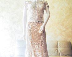 Exclusive ivory crochet wedding dress handmade by LecrochetArt