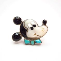 Zuni Vintage Channel Inlay Mickey Face Ring  c.1960~