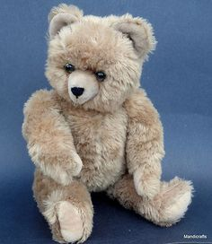 German Teddy Bear Dralon Tan Plush Jointed Glass Eyes Growler Vintage C1950s | eBay