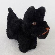 Vintage 1940's Primitive Black Mohair Scotty Dog Stuffed Toy
