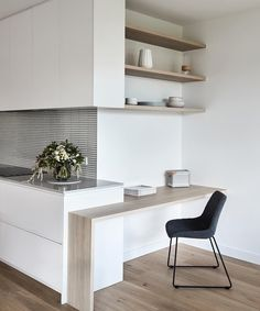 A clever little kitchen study nook in our Murrumbeena Residence. Tucked into the side of the kitchen it's discreet yet offers full… Kitchen Desk Areas, Kitchen Desks, Kitchen Nook, Home Decor Kitchen, Home Kitchens, Small Apartment Design, Small Apartments, Study Nook, Little Kitchen