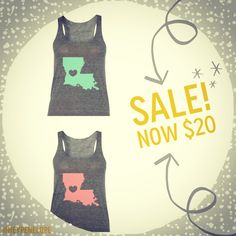 #SALE! #LouisianaLove Tanks in #Mint or #Coral - $20! Get it before it's GONE! #Louisiana #StateLove #MintandCoral www.heypenelopedesign.etsy.com