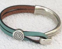 Bianchi Celeste vert Bracelet en cuir avec accessoire de vélo élégant unique Antique Silver Hook