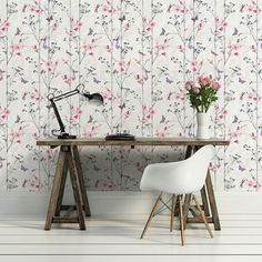 A delightful red and grey wallpaper featuring butterflies and flowers by Muriva. Available from Go Wallpaper UK. Decor, Modern Floral Wallpaper, Living Dining Room, Feature Wallpaper, Go Wallpaper, Pink Wallpaper, Home Decor, Pink Wallpaper Living Room, Wallpaper Uk