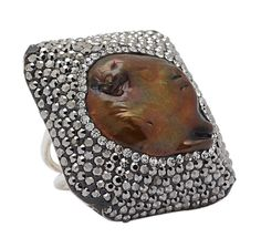 Freshwater Pearl & Crystal Sterling Silver One Size Ring $129.98