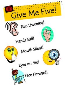 give me five poster that is printable | Give Me Five Reminder Poster - Stacy Jamison - TeachersPayTeachers.com