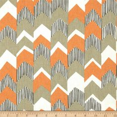 Richloom Nino Chevron Tangerine, love this for drapes for the nursery maybe? Like the tribal feel and the stripes look like zebra stripes kind of. Maybe with the gold flecked burlap at Joanns for the outside panels.