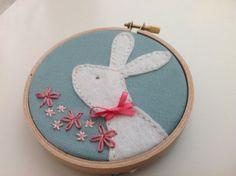 Felt Bunny hoop art. Pastel pink and green by BoxRoomBazaar