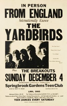 The Yardbirds concert poster, Lima, Ohio, December 1966.. Tickets $2.50 in advance