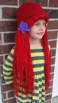 4559f9c705f Crochet Little Mermaid Ariel Wig Hat  Newborn Infant Child Adult Beanie