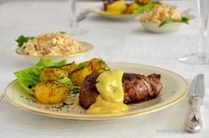 Chateaubriand with Bearnaise Sauce and Chateau Potatoes.