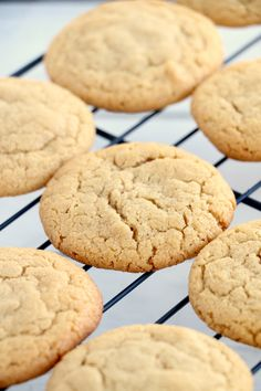 Chewy Sugar Cookies: Our sweet, tender sugar cookies have a pleasant chew—and a few surprising ingredients. Homemade Sugar Cookies, Chewy Sugar Cookies, Sugar Cookies Recipe, Peanut Butter Cookies, Cookie Recipes, Dessert Recipes, Cookie Ideas, Dinner Recipes, Americas Test Kitchen