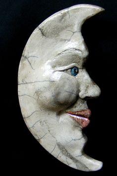 "Contemporary Ceramics - ""Sweet Crescent Moon Face"" (Original Art from Becky Dennis)"