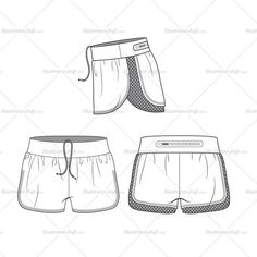 Fashion flat vector template DRAWSTRING FRONT RUNNING SHORTS WITH CONTRAST HEM, PERFORATED MESH BACK DETAILING, AND FUN ZIP POCKET AT BACK WAIST BAND.