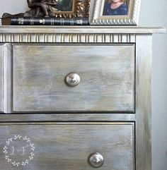 Layering on different colors of Fusion Mineral Paint in their Studio Metallics line takes a mass-market nightstand for plan to fabulous!