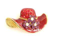 Red Enameled Hat Brooch
