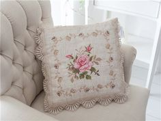 Cross Stitching, Cross Stitch Embroidery, Cross Stitch Patterns, Cross Stitch Rose, Cross Stitch Flowers, Pillow Embroidery, Embroidery Patterns, Ruffle Curtains, Embroidered Bedding
