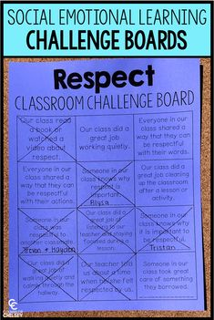 These social emotional learning classroom challenge boards will help your elementary students learn and practice important SEL skills. Includes boards for 15 social emotional learning topics, and each board contains 12 challenges. This is a great way to increase SEL school wide! #CounselorChelsey #SocialEmotionalLearning #SchoolCounseling