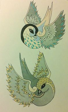 Old-school tattoo birds. Colored in with Letraset Promarkers. Inspired by a friend of mine, who drew a bird for me.  size A5.