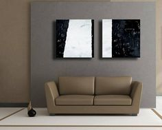 Set of 2 Black White Gray Original Abstract Painting on Canvas Wall Art Home Decor Wall Hanging Not Stretched Abstract Canvas Art, Canvas Wall Art, Abstract Paintings, Grey And White, Gray, Love Seat, Wall Decor, Inspiring Art, The Originals