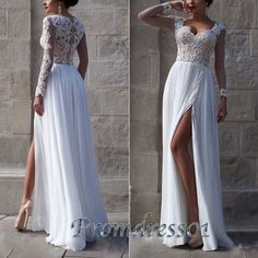 Sexy white chiffon left slit long senior prom dress, elegant ball gown with straps, long evening dress for teens -> http://www.promdress01.com/#!product/prd1/4236339311/sexy-white-chiffon-left-slit-sweetheart-prom-dress